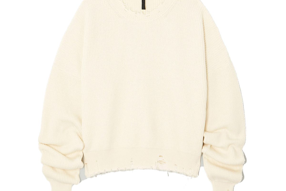 unravel project distressed ribbed cotton and cashmere blend sweater