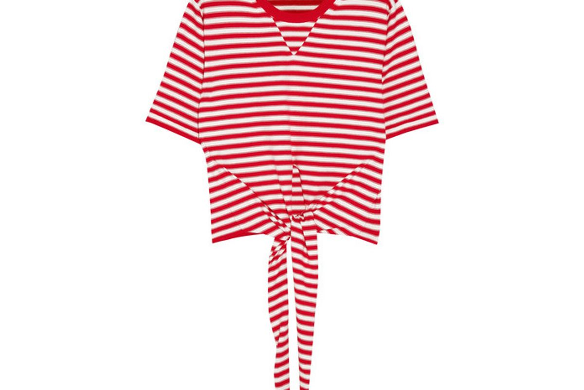 Tie-front Striped Stretch-cotton Jersey Top