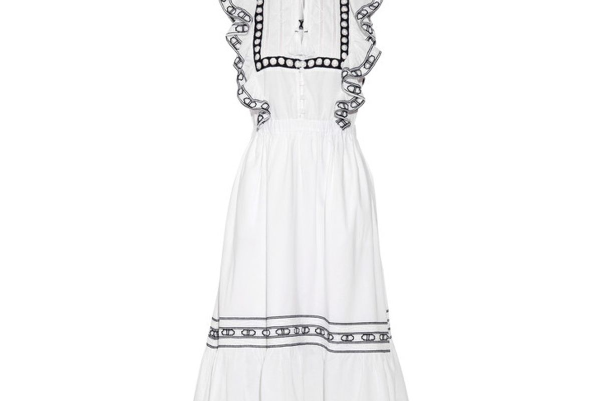 Ruffled Crochet-trimmed Cotton-voile Midi Dress