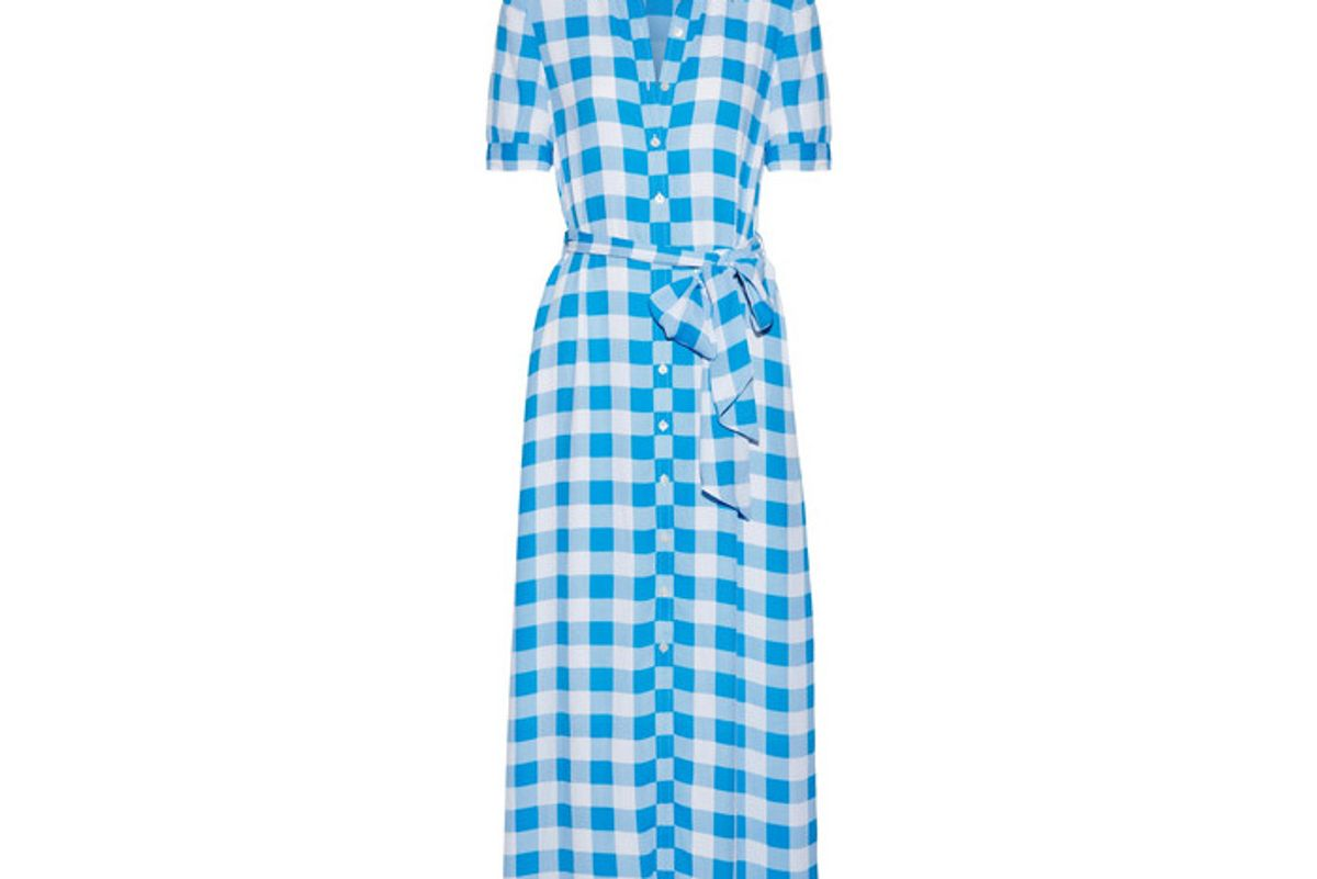 Gingham Crepe de Chine Maxi Dress