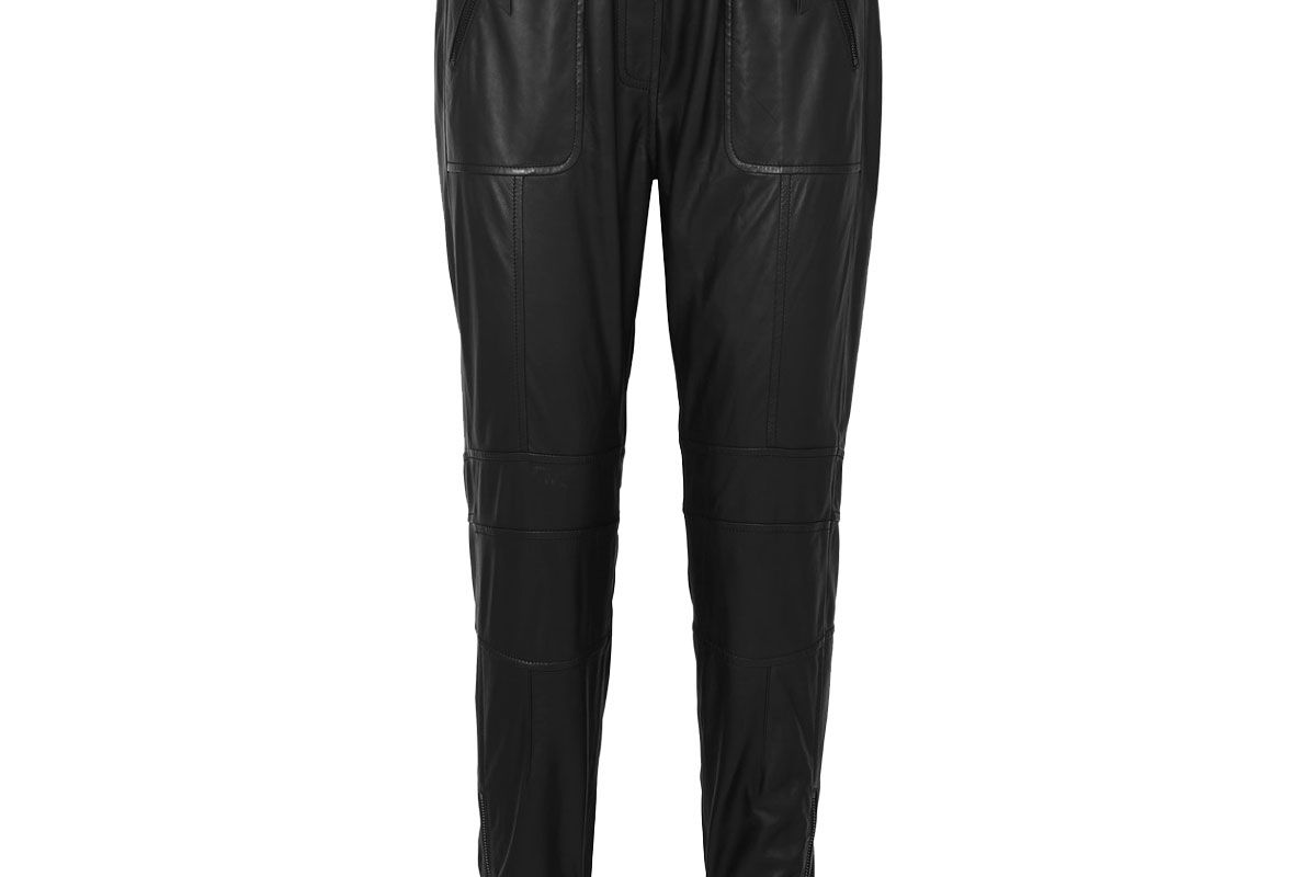 munthe tapered leather track pants