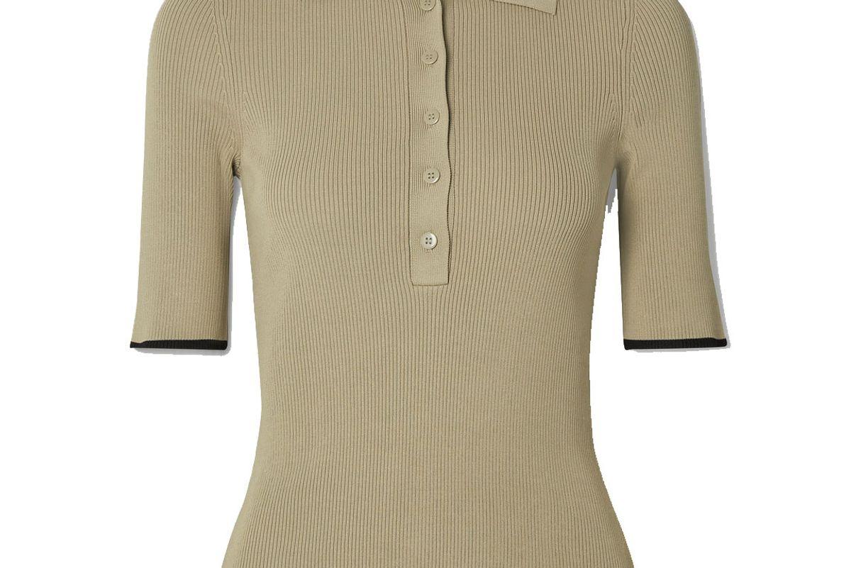 la linge slinky two tone ribbed knit polo shirt
