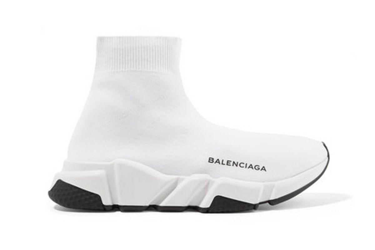 balenciaga speed logo print stretch knit high top sneakers