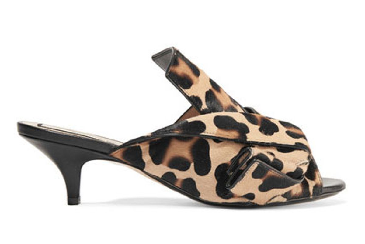 Knotted leopard-print calf hair mules