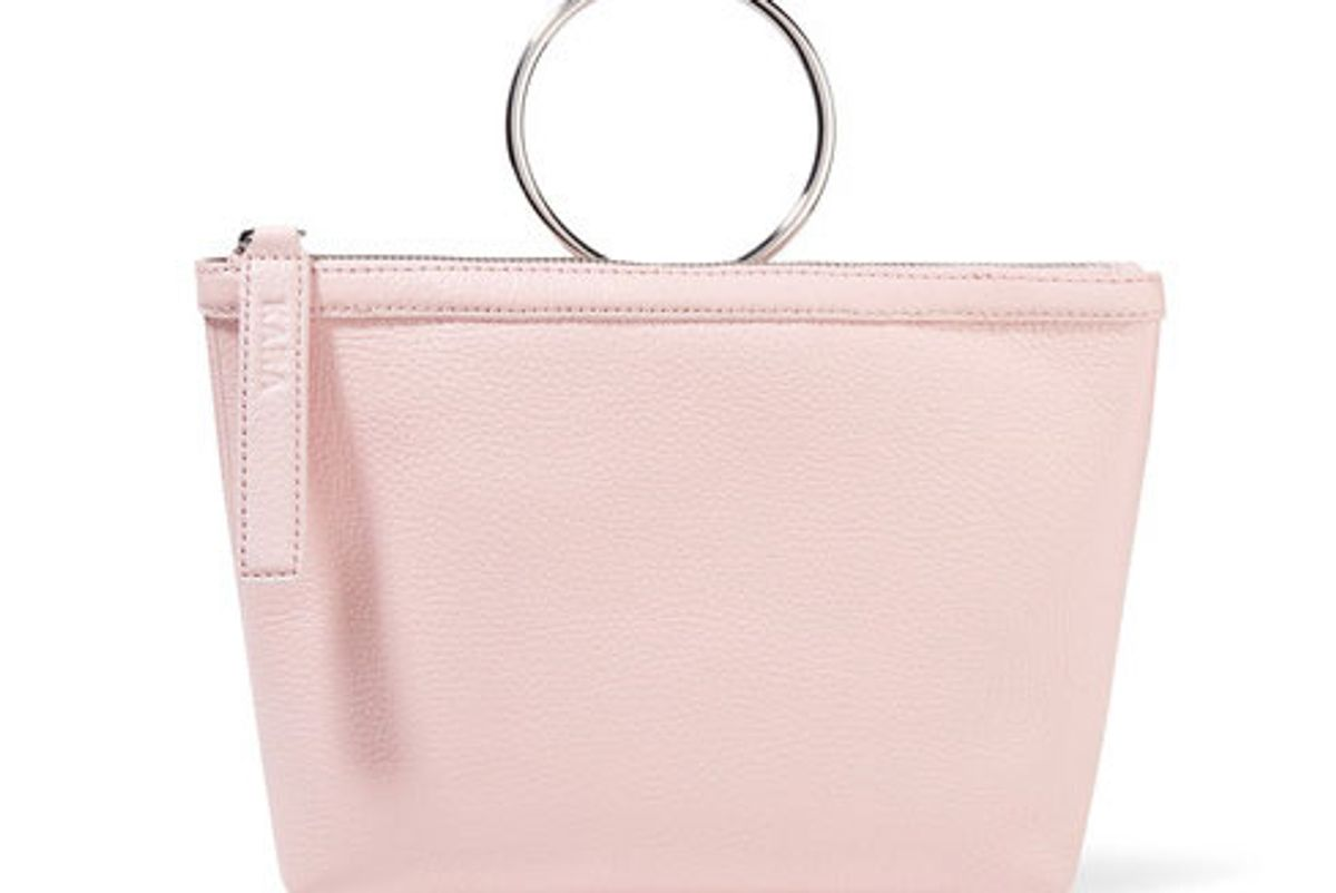 Ring Textured-Leather Clutch