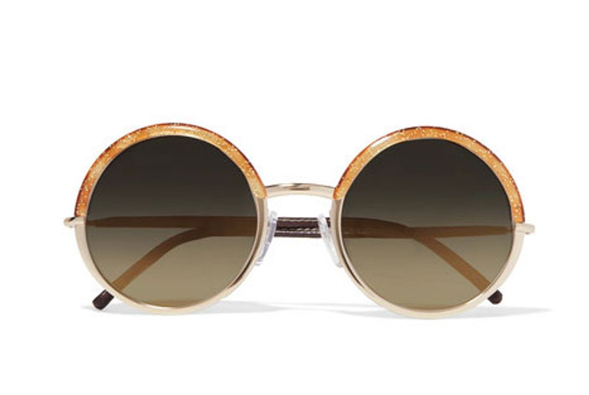 Round-Frame Glittered Acetate, Gold-Tone and Leather Sunglasses