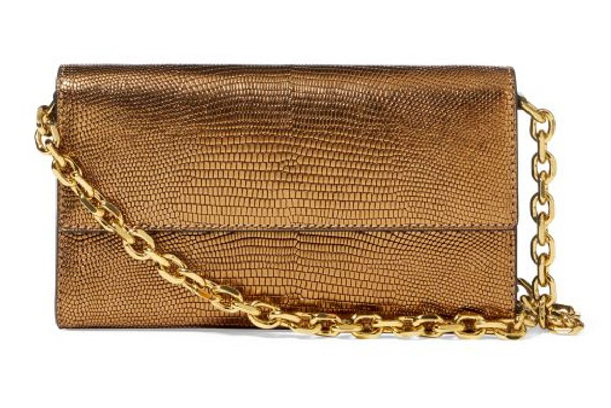 Lizard-Embossed Chain Wallet