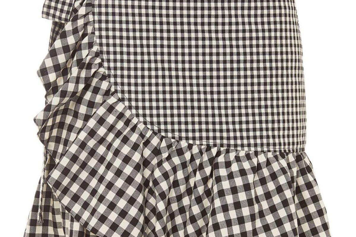 Gingham Frill Wrap Mini Skirt