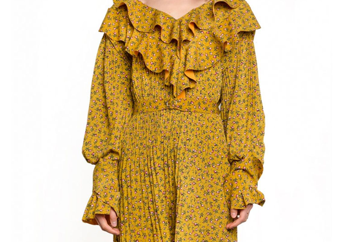 Mustard Floral Ruffled Dress