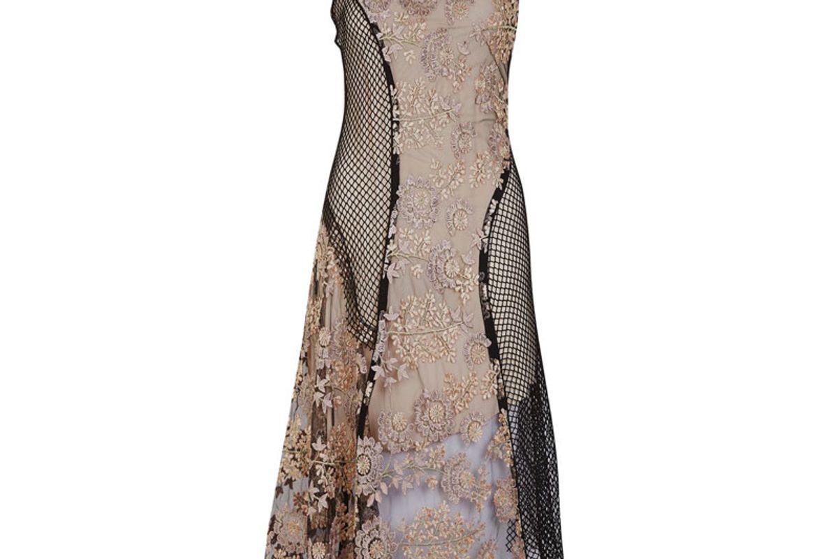 Lace Fishnet Midi Dress