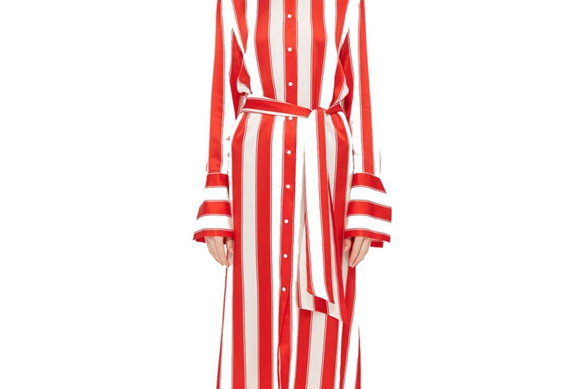 Stripe Silk Satin Shirt Dress by Boutique