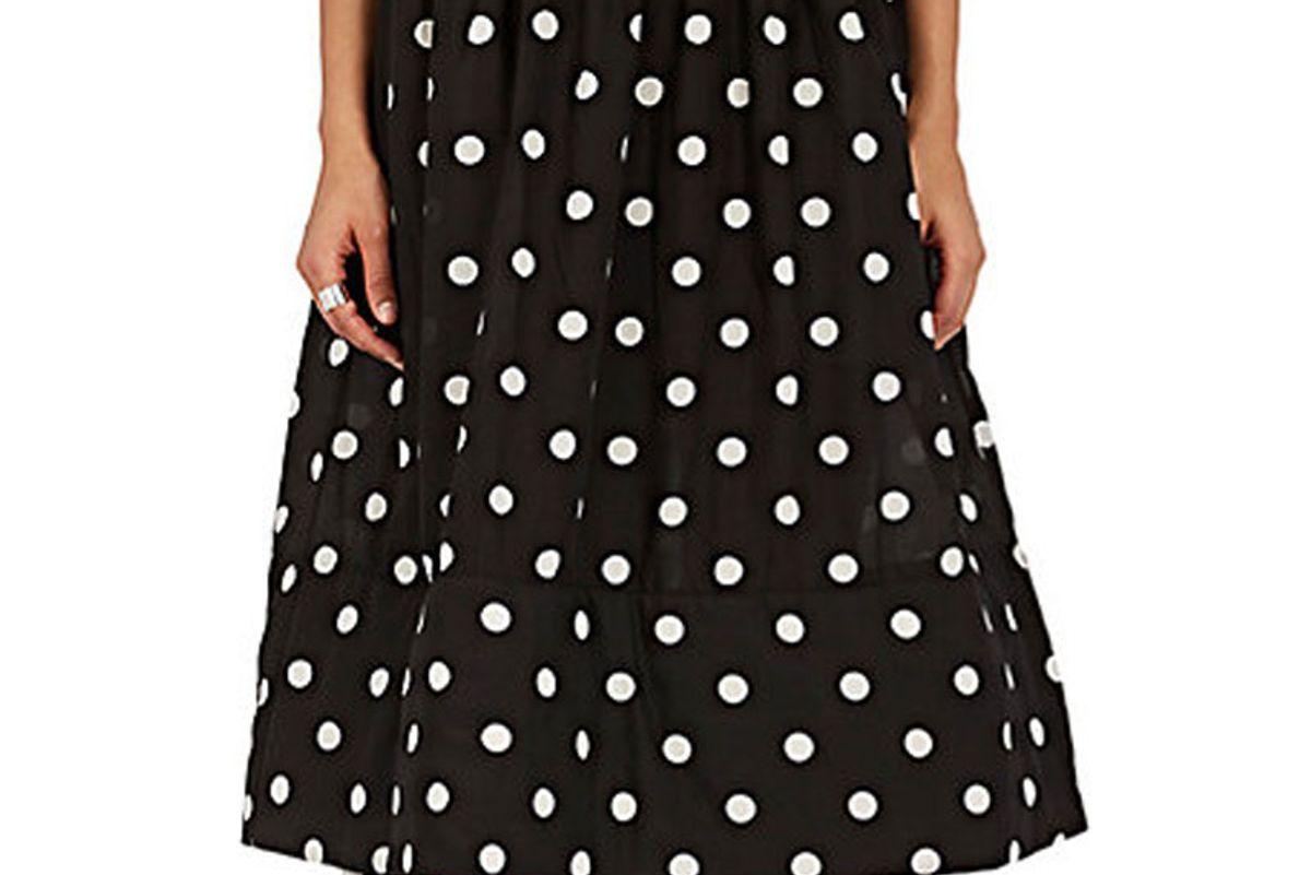 Polka Dot Plain-Weave Full Midi-Skirt