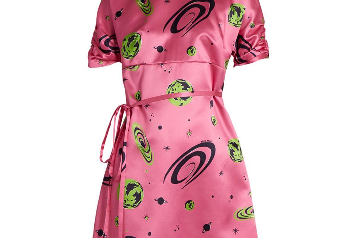 Planet Print Duchess-Silk Dress