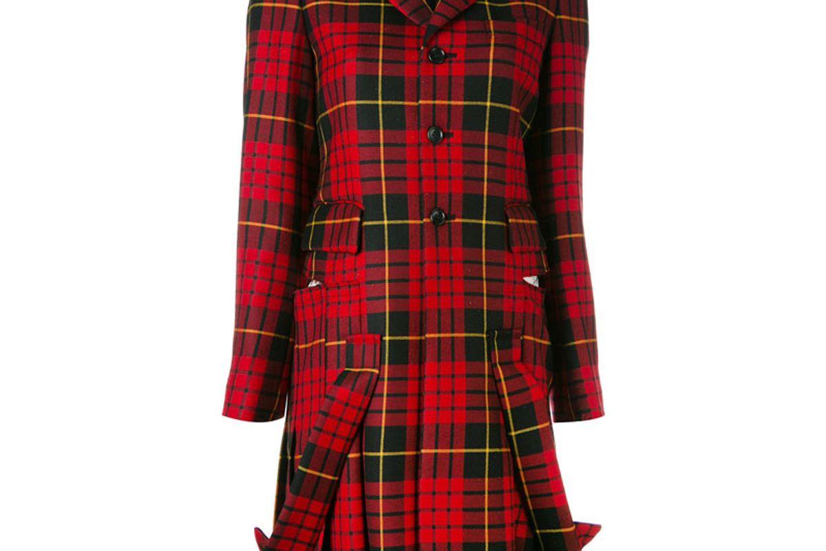 Plaid Pleated Hem Coat