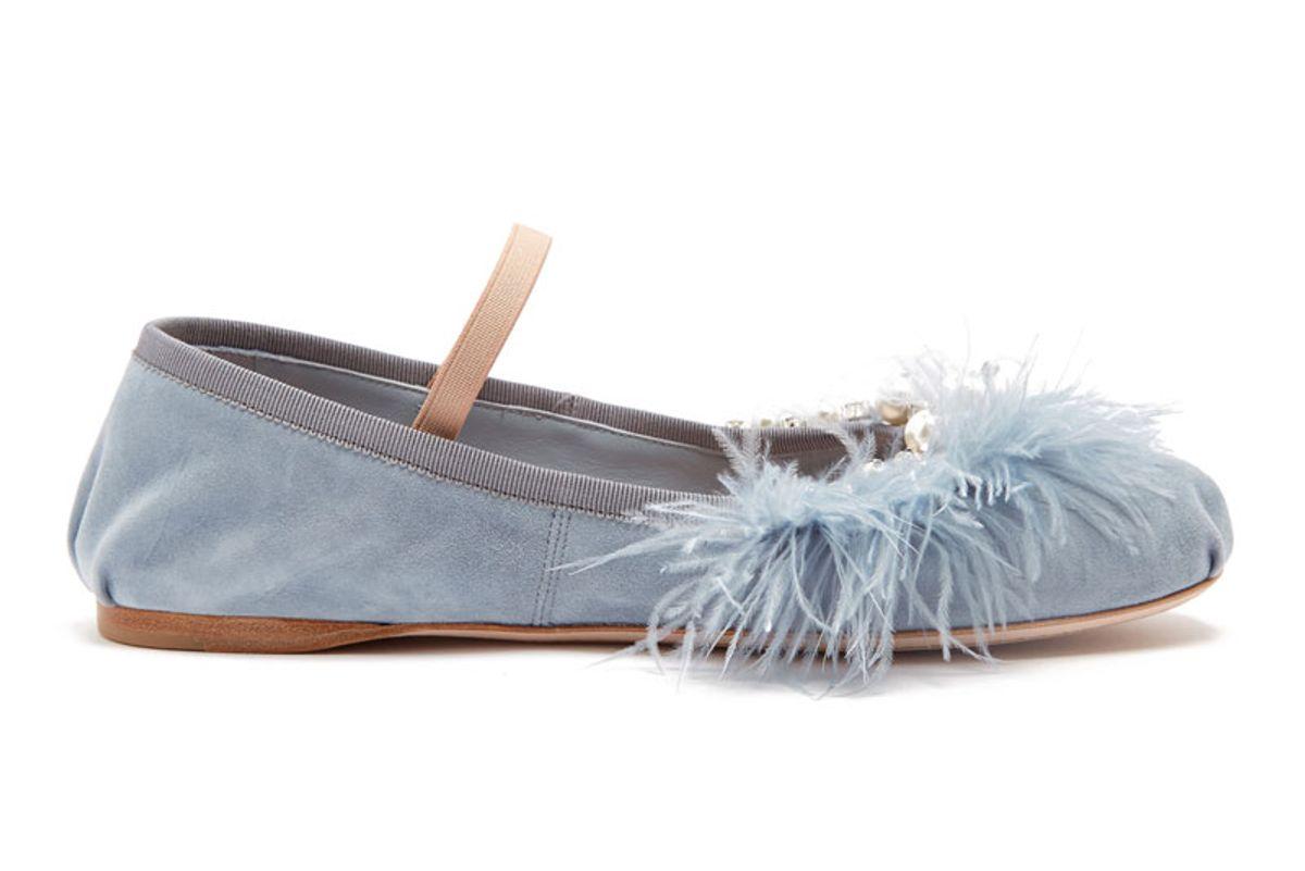 Crystal & Pearl Embellished Suede Ballet Flats