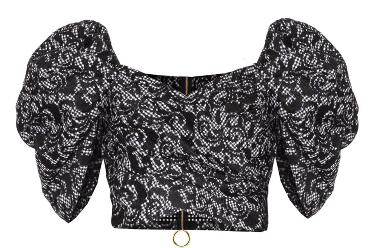 Puffy Sleeve Off-the-Shoulder Crop Top