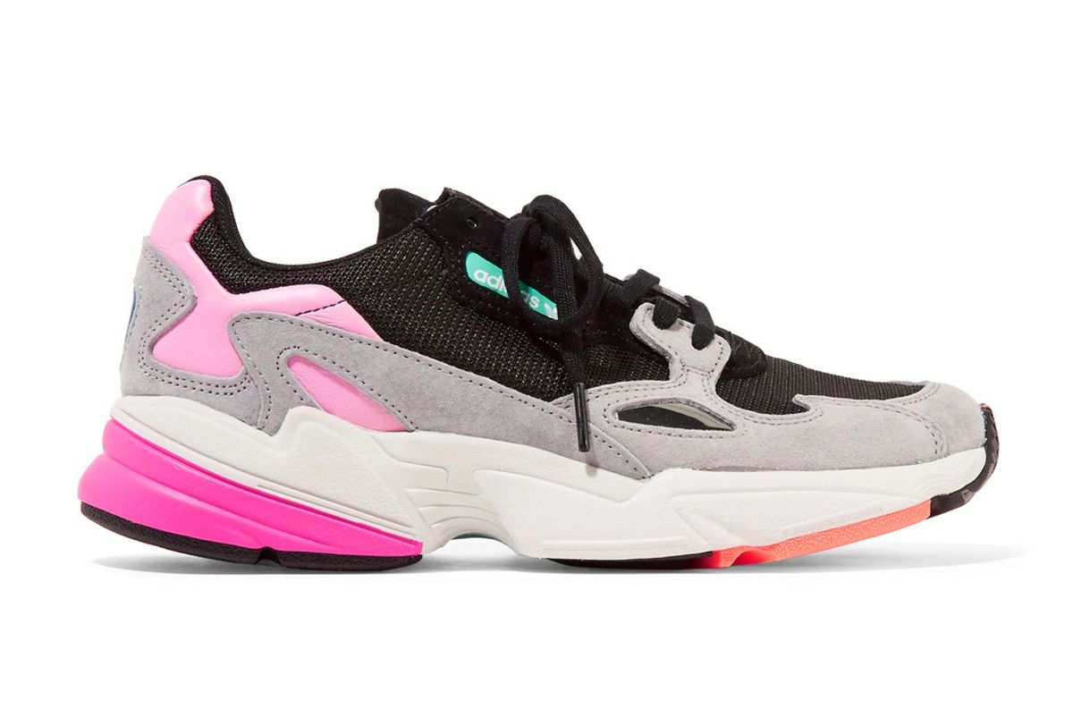 adidas falcon mesh suede and faux leather sneakers