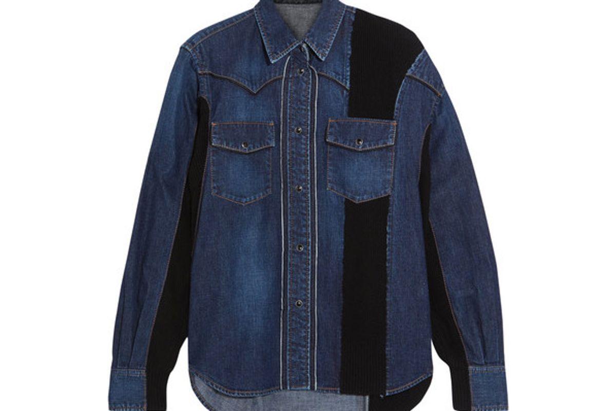 Ribbed Knit-paneled Denim Shirt