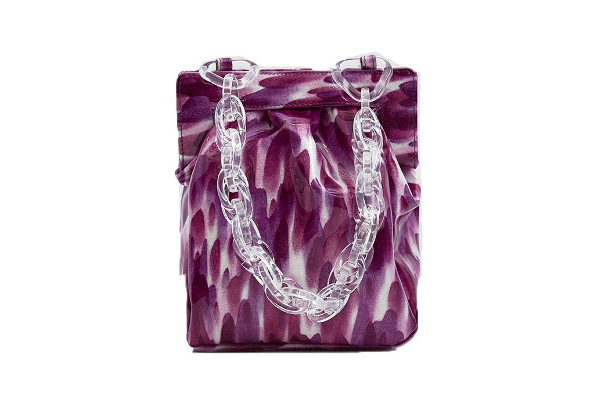 maryam nassir zadeh glow purse in violet leopard