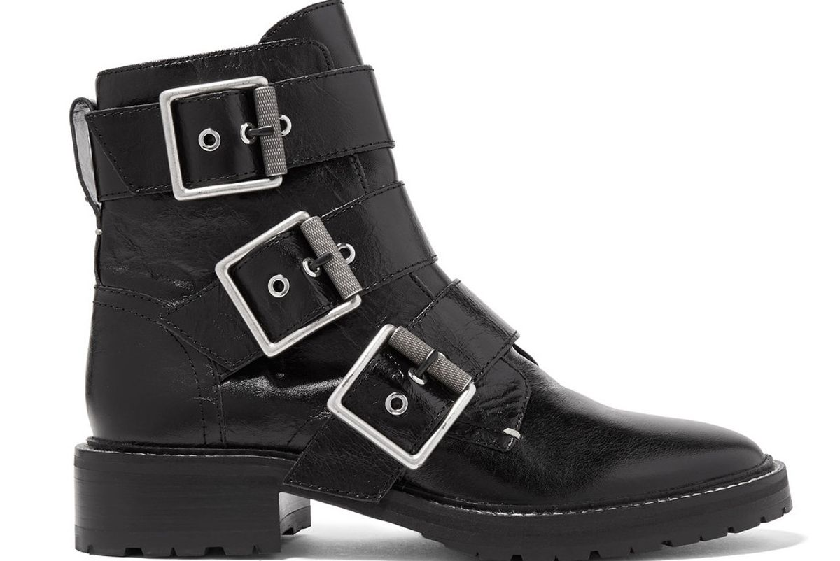 rag and bone cannon buckled glossed leather ankle boots