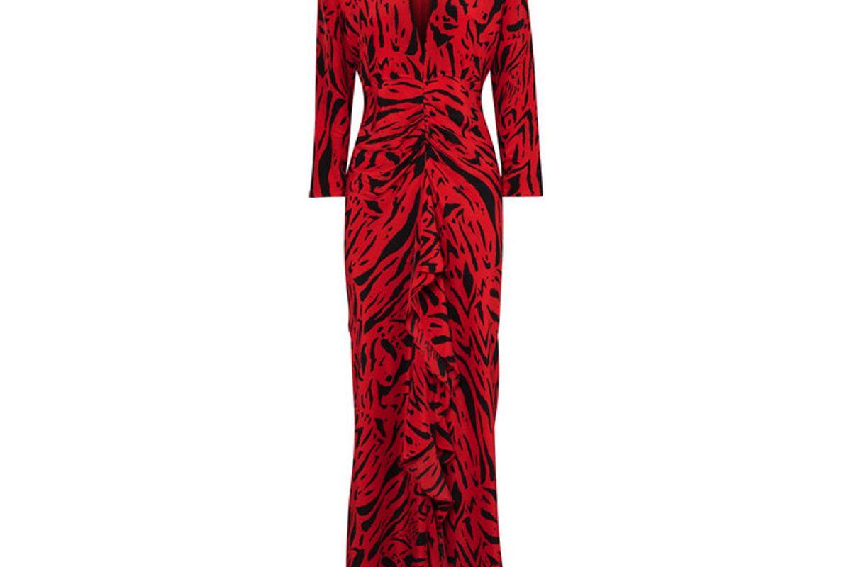 rixo london adriana animal print silk maxi dress