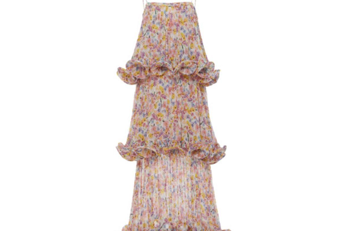 dewy tiered floral print chiffon maxi dress