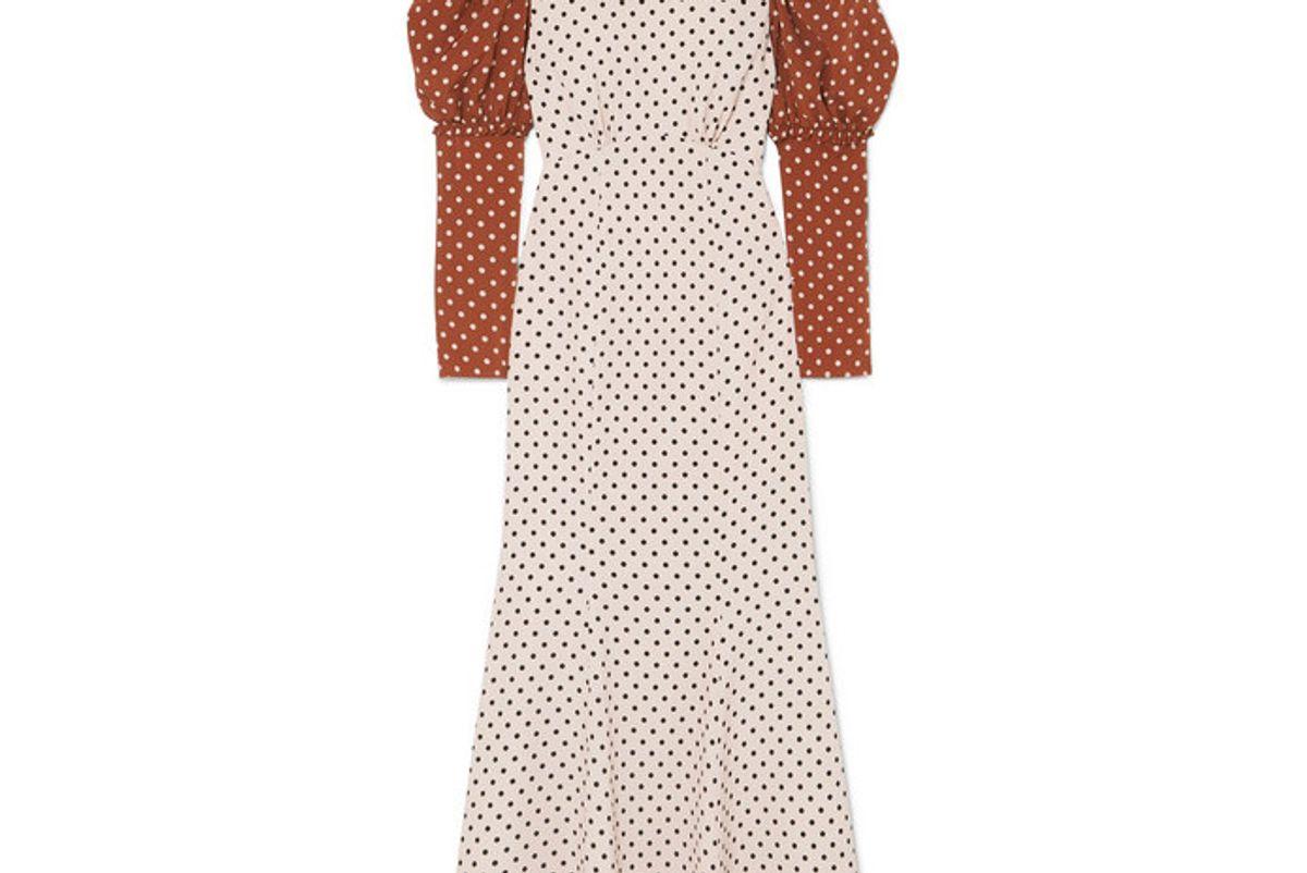 rejina pyo sibylle draped two tone polka dot crepe midi dress