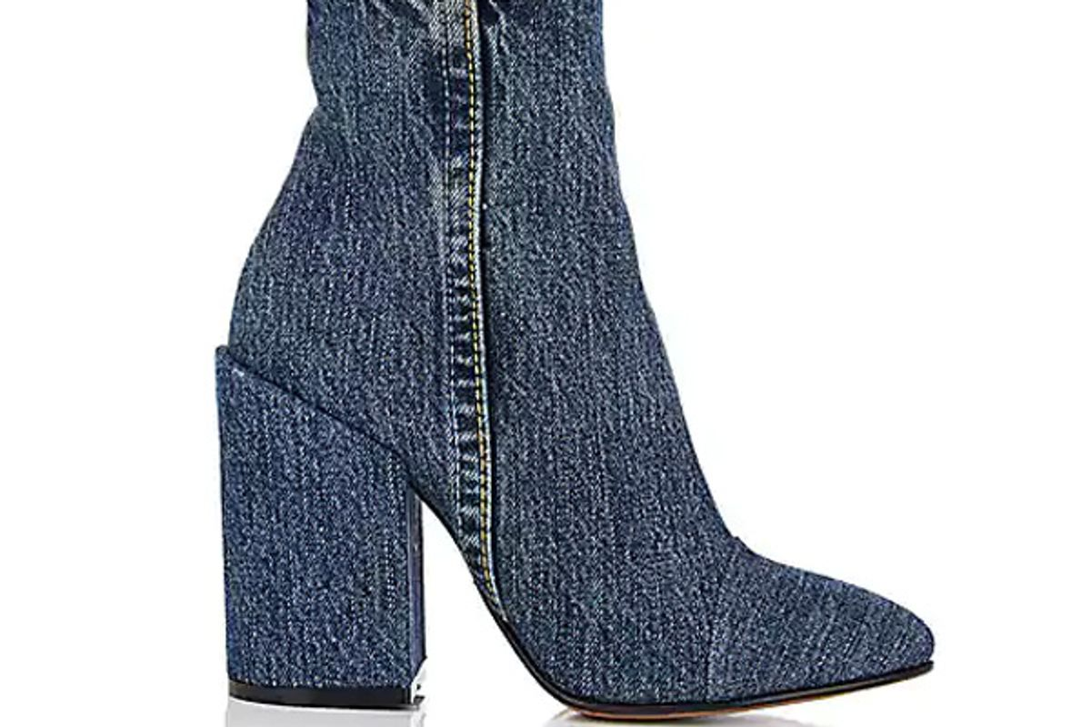 Cap-Toe Denim Ankle Boots