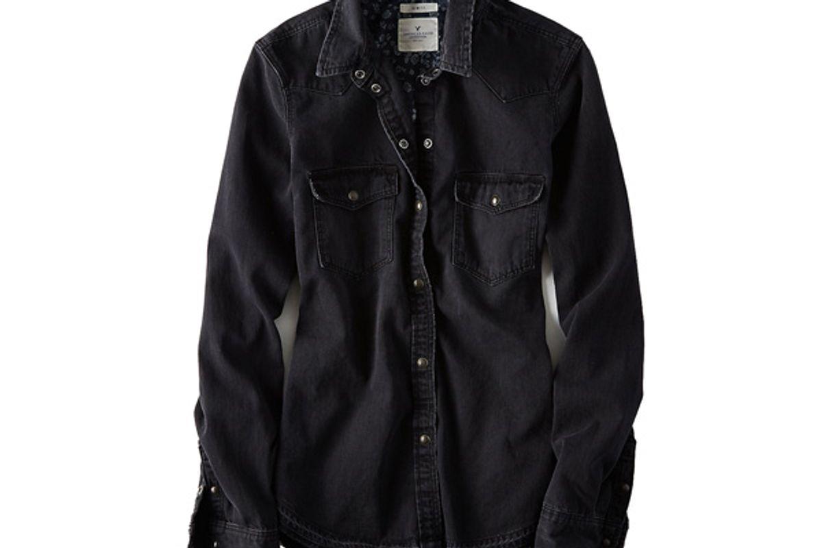 AEO Slim Black Denim Shirt