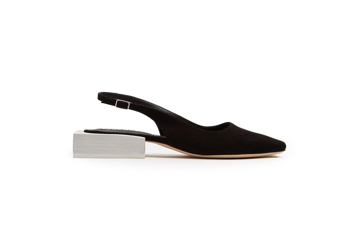 Sculptured-heel Slingback Suede Pumps