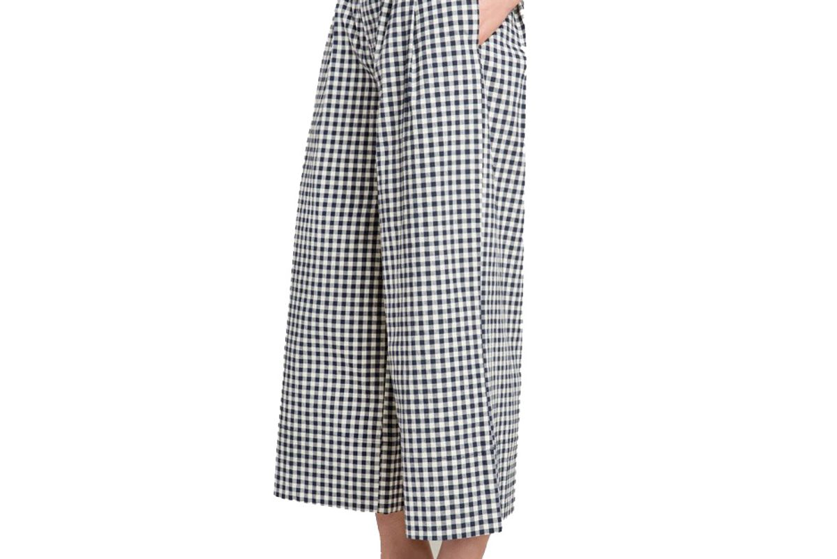 Navy Gingham High Waisted Culottes