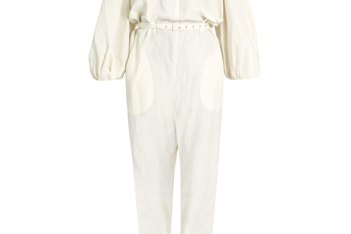 Off-the-Shoulder Silk and Linen-Blend Jumpsuit