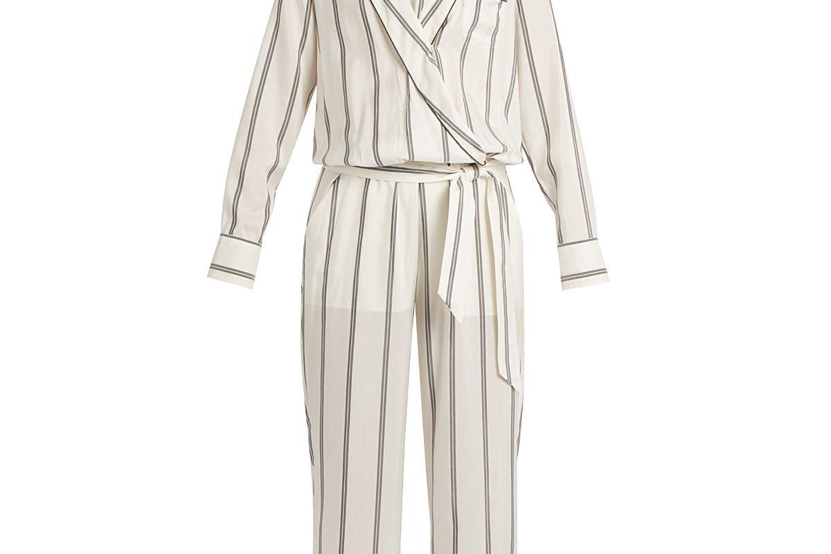 Monili-Embellished Striped Silk Jumpsuit