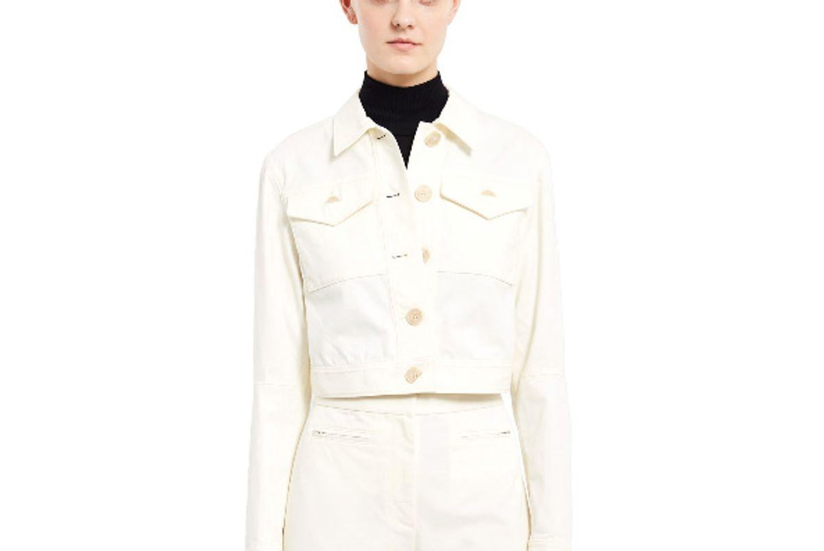 Stretch Cotton Cropped Denim Jacket