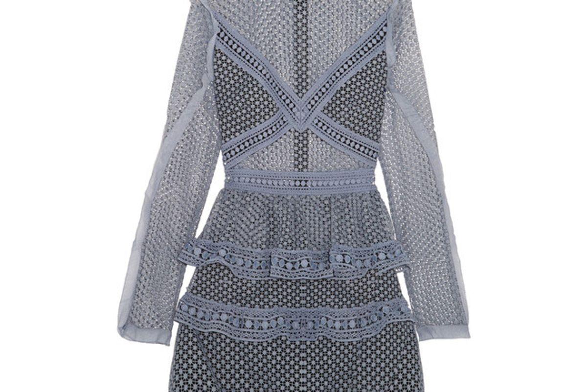 Ruffled Organza-Trimmed Guipure Lace Mini Dress