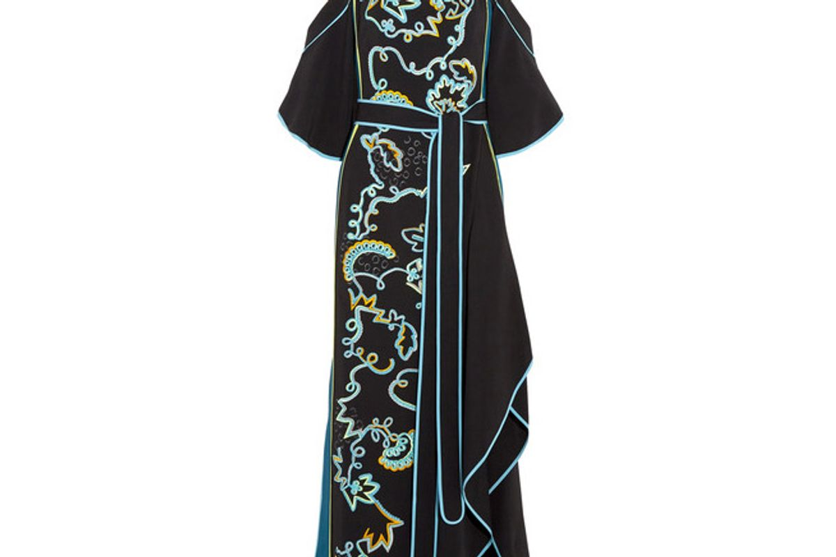 Cold-shoulder Embroidered Cady Gown