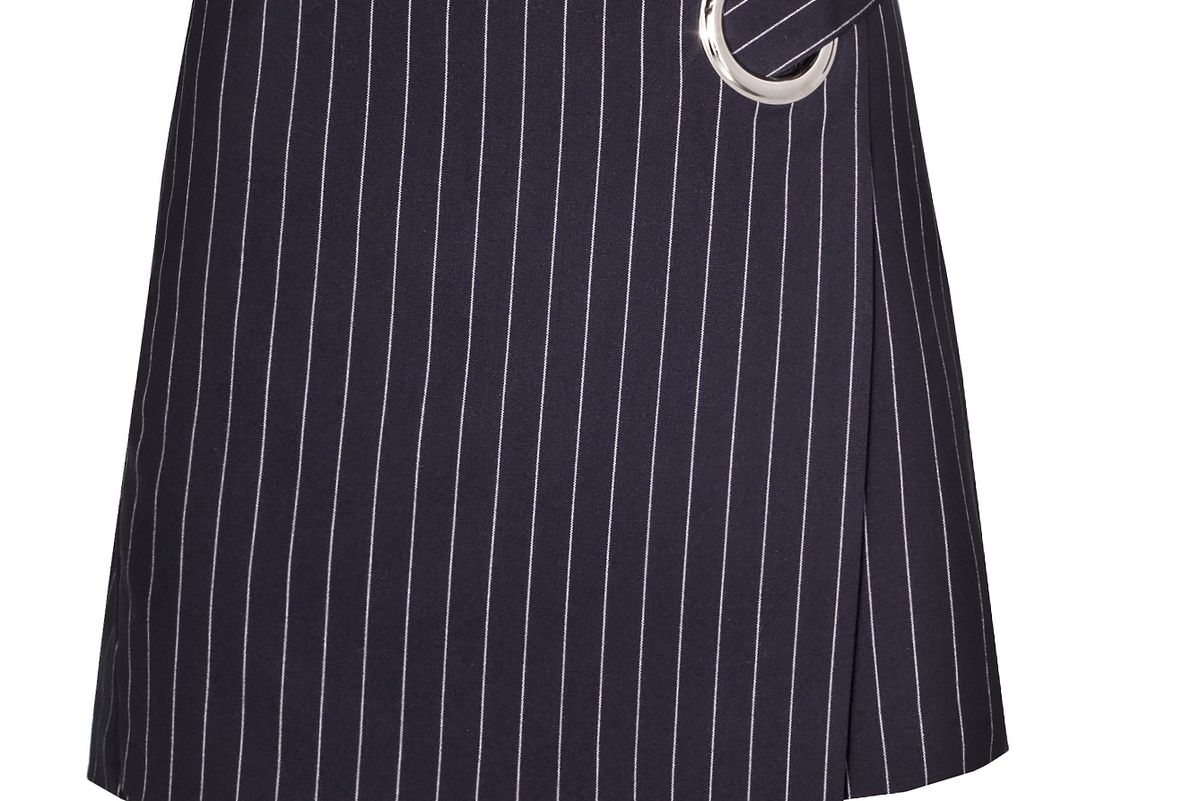 Navy Pinstripe Ring Mini Skirt