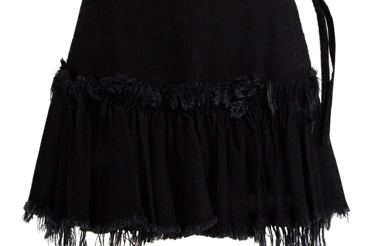 Frayed-Edge Ruffled-Hem Denim Mini Skirt