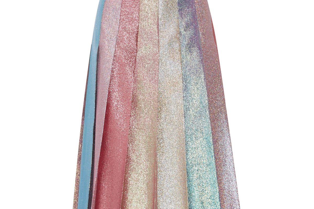 Pleated Lamé Midi Skirt