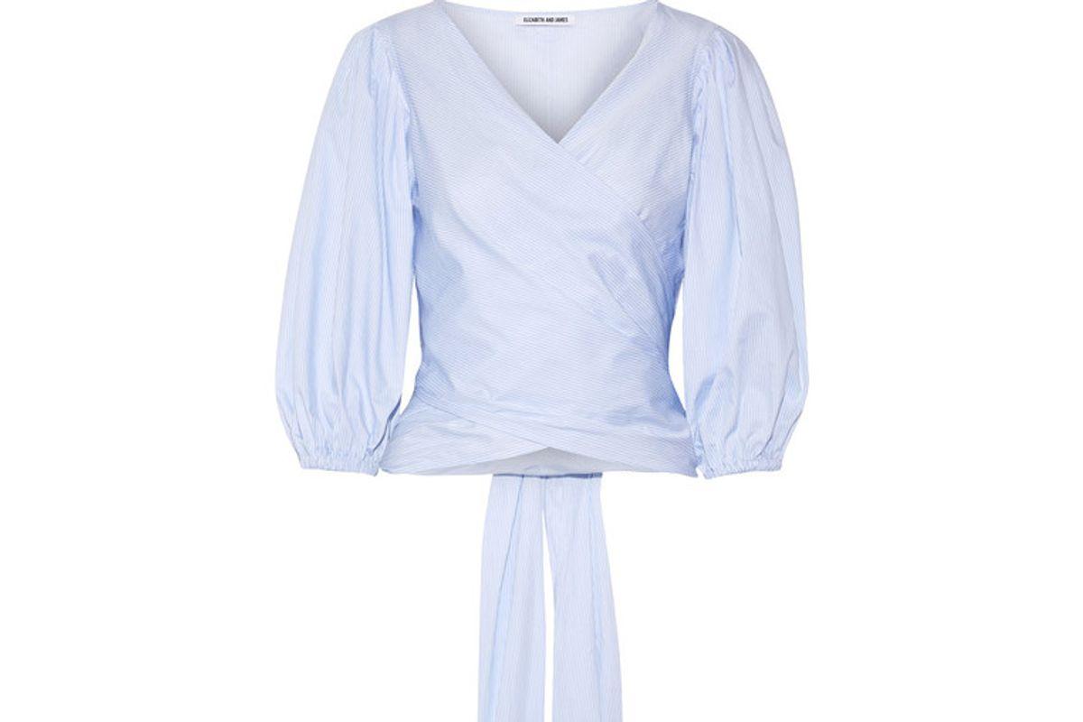 Farrah Striped Cotton-poplin Wrap Top