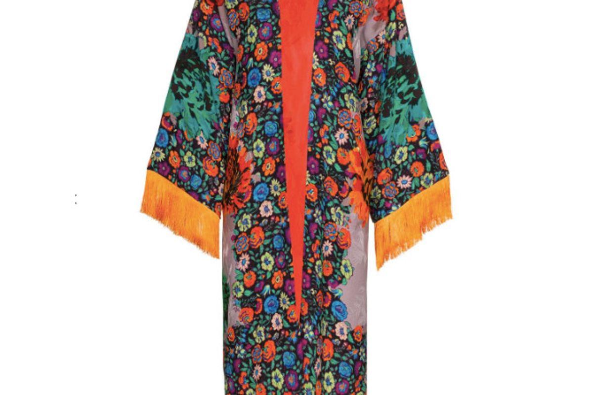 etro fringed floral print jacquard kimono