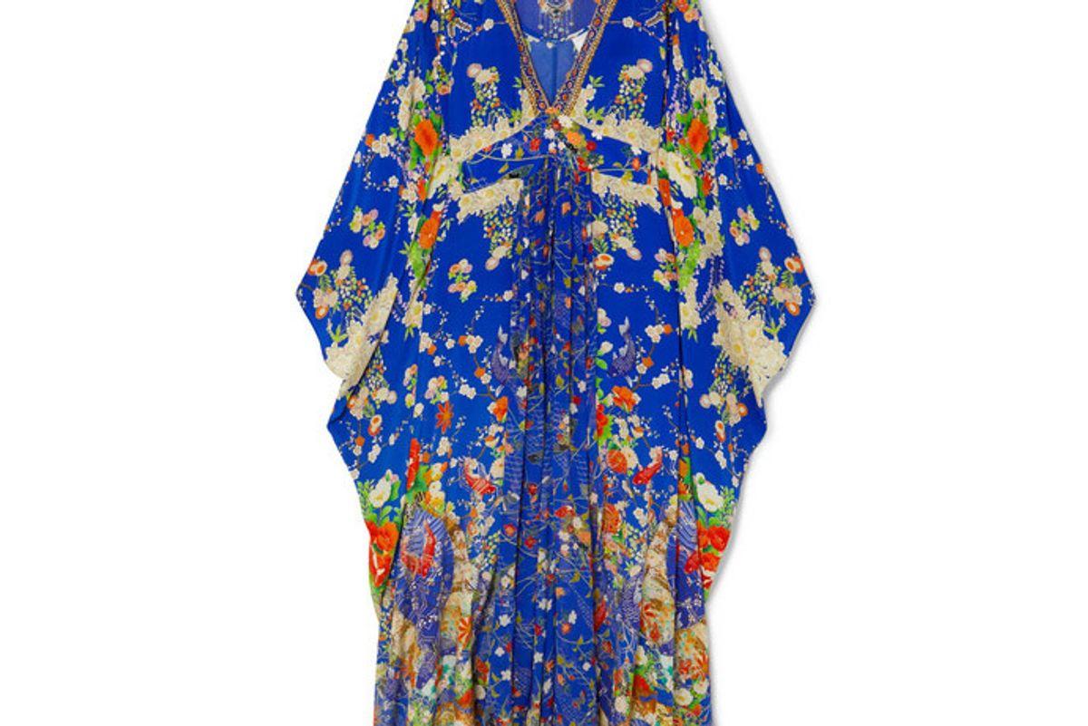 camilla crystal embellished printed silk crepe de chine kaftan