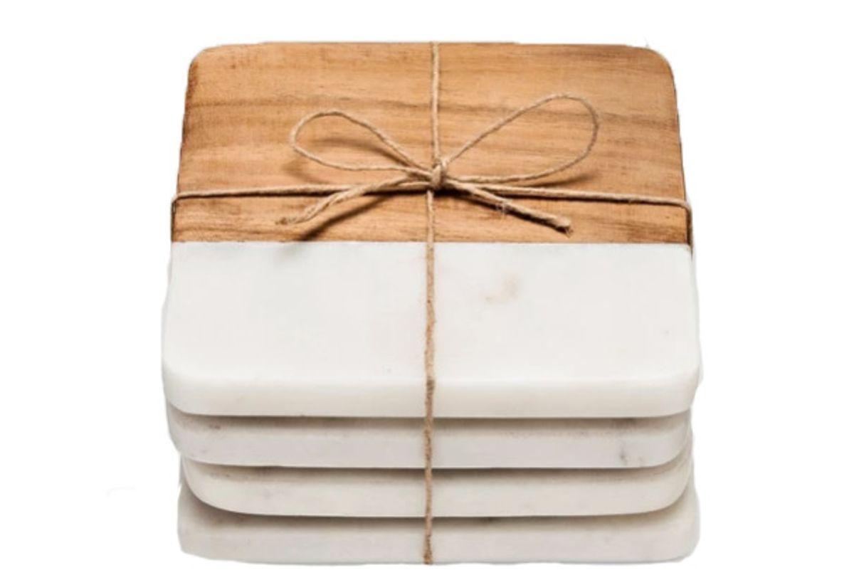target marble wood coasters set of 4white brown