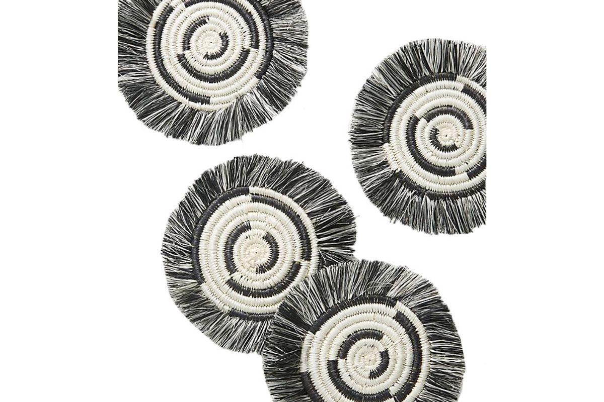 anthropologie fringed spiral coasters set of 4