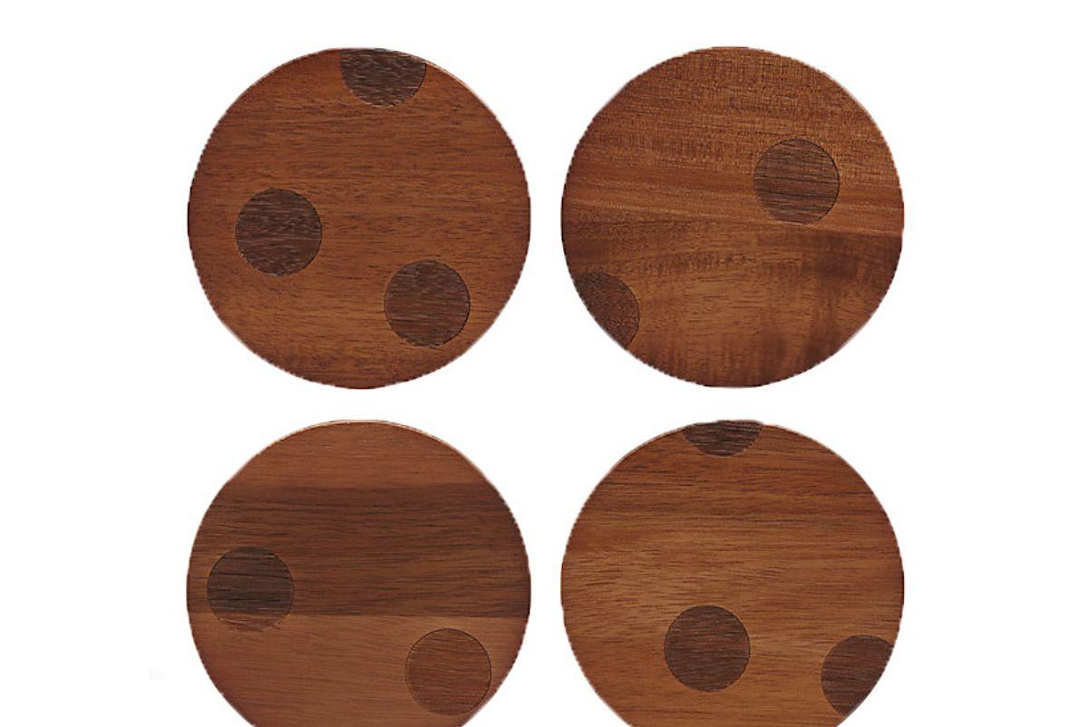 kate spade wood dot coaster set