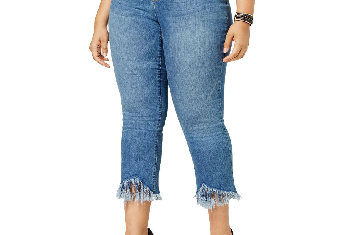 Plus Size Fringed Cropped Jeans