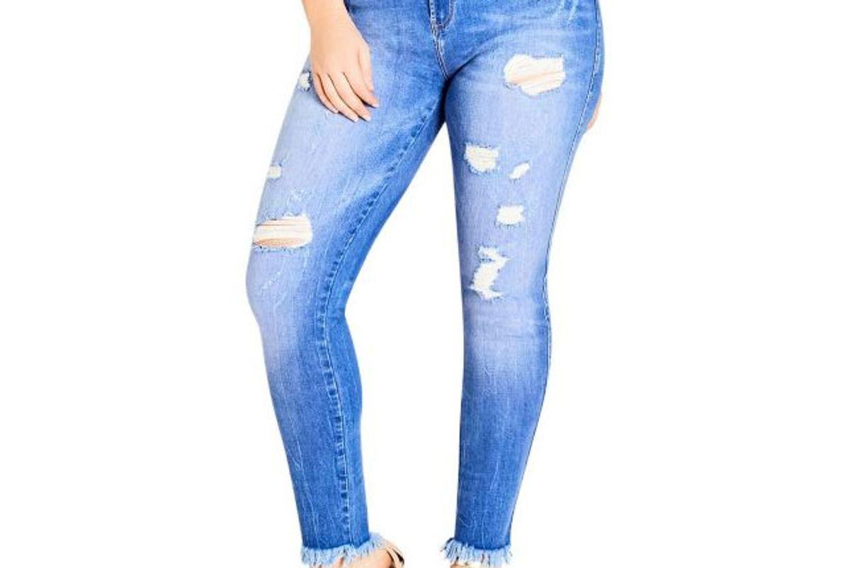Plus Distressed Frayed-Hem Washed Jeans