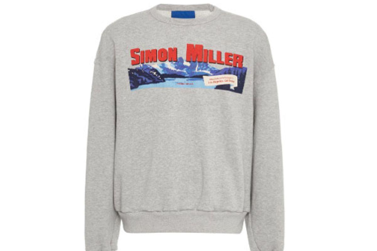 simon miller r19orem terry crewneck logo sweatshirt