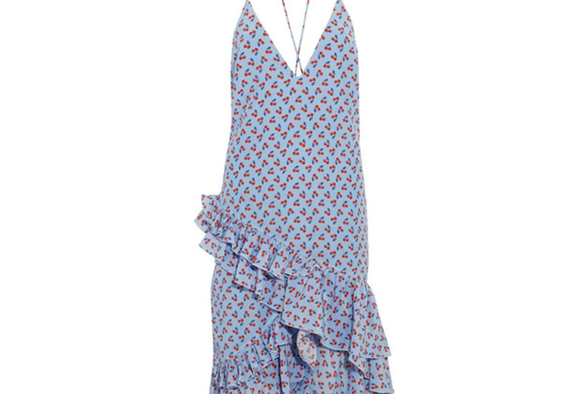 Corona Ruffled Printed Silk Dress