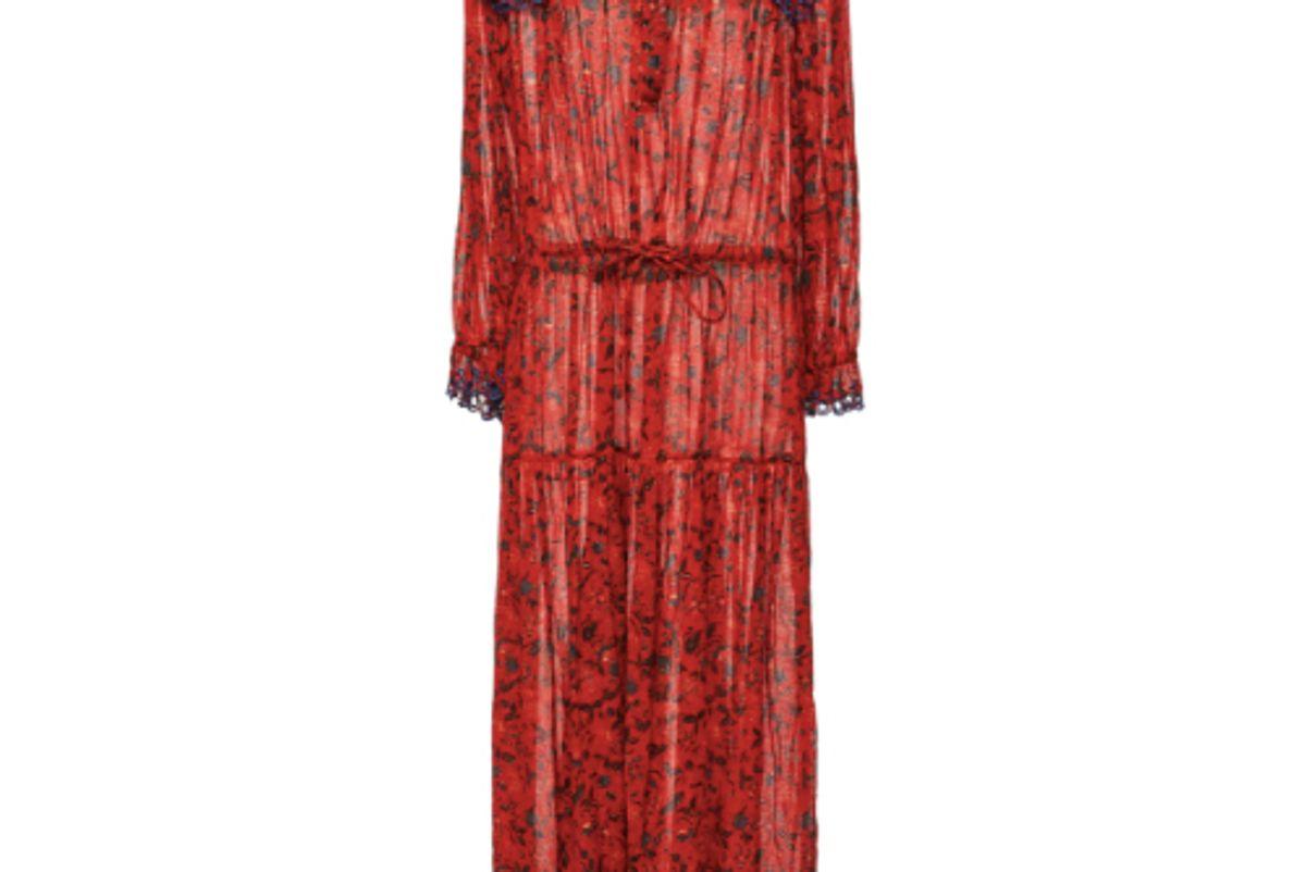 isabel marant etoile eina ruffled floral print cotton voile maxi dress